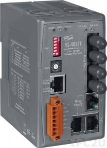 RS-405FT Промышленный 5-портовый неуправляемый коммутатор с функцией резервирования: 3 порта 10/100 Base-T, 2 порта 100 Base-FX (многомодовоее волокно, разъем ST), 0...+70С