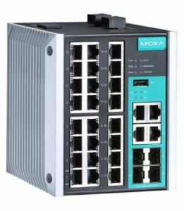 EDS-528E-4GTXSFP-LV-T Промышленный 28-портовый управляемый коммутатор: 24 портов 10/100 BaseT(X) Ethernet, 4 комбо-порта Gigabit Ethernet (RJ-45 + SFP), -40...+75С