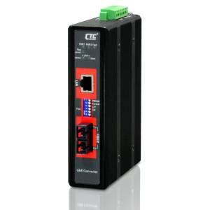 IMC-1000-E-SC080 Industrial Unmanaged Gigabit Ethernet Media Converter 10/100/1000 Base-T to 100/1000 Base-X Optical Single-mode SC port, Distance 80km, Redundant dual 12/24/48VDC input power, -20.. 75C Operating Temperature