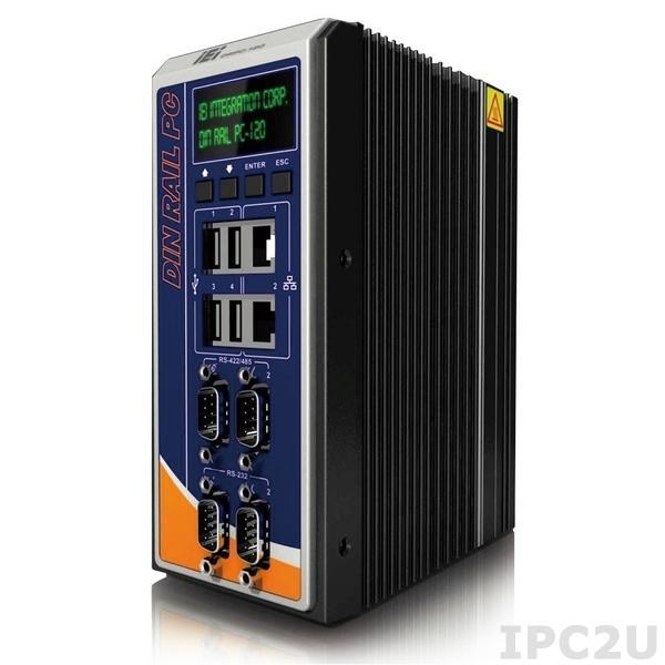 "DRPC-120-BTi-E5-OLED/2G-R10 Безвентиляторный компактный компьютер на DIN-рейку, Intel E3845 1.91ГГц, 2Гб DDR3L, 2xГбит LAN, 2xRS232/2xRS422/485, HDMI, VGA, DVI-I, 4xUSB, отсек 2.5"" SATA HDD/SDD , mSATA, 8xDI/8xDO, IEI iRIS-2400 (опция), OLED, 9..+30В DC"