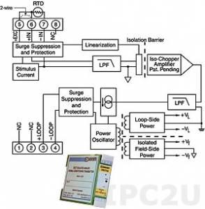 DSCT34-04 Нормализатор сигналов 2- или 3-проводных термосопротивлений с линеаризацией, вход Pt100 (0...+600 °C), выход 4...20 мА