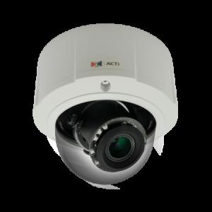 E815 5 МП купольная IP-камера, мотор. трансфокатор f3.1-13.3мм/F1.4-4.0, 4.3х оптич. увеличение, P- диафрагма, H.264, 1080p/30 кадр/сек, день/ночь, адапт. ИК подсветка, WDR, DNR, Аудио, Micro SDHC/SDXC, PoE, IP67, IK10, DI/DO