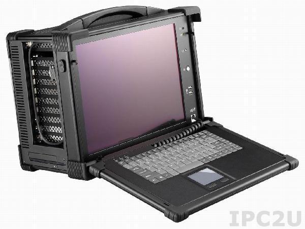 """ARP650-15RUD Алюминиевый корпус для рабочей станции с дисплеем 15"""" XGA 1024x768 TFT LCD/интерфейс дисплея DVI/4 слота расширения/отсеки 2x3.5""""/1xSlim DVD/2xДинамика 3 Вт/клавиатура 87 клавиш/тачпад/1u блок питания 400 Вт/поддержка PICMG/ PICMG 1.3"""