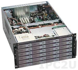 """GHI-580-SATA 19"""" корпус 5U, EATX, отсеки 1x5.25"""" Slim/1x3.5"""" Slim FDD/2x2.5""""HDD/24x3.5"""" Hot Swap SATA HDD, без источника питания"""