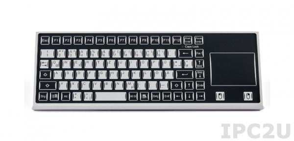 TKF-085c-TOUCH-MGEH-USB Настольная промышленная IP65 клавиатура, 85 клавиш, тачпад, USB