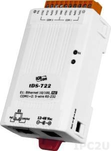 tDS-722 Преобразователь RS-232 в Ethernet, 2xRS-232, PoE