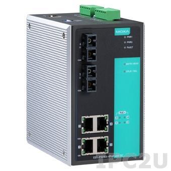 EDS-P506A-4PoE-MM-SC Промышленный 6-портовый управляемый коммутатор: 4 PoE+ порта 10/100 BaseT(X), 2 порта 100BaseFX (многомодовое оптоволокно, разъем SC), 0...+60С