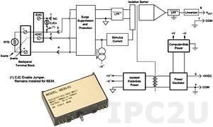 8B34-02 Нормализатор сигналов 2- или 3-проводного термометра сопротивления, линеаризованный, Pt-100, 0...+100 C, выход 0...+5 В