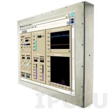 """R15L600-67C3 Промышленный стальной 15"""" LCD монитор с IP67 по всему корпусу,1024x768, передняя панель из нержавеющей стали, VGA, с блоком питания 12В DC 100-240В AC, вход питания 12В DC (M12)"""