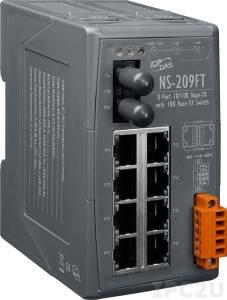 NS-209FT Промышленный 8-портовый неуправляемый коммутатор: 7 портов 10/100 BaseT Ethernet, 1 порт 100BaseFX (многомодовое волокно, разъем ST, до 2 км), пластиковый корпус