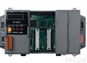 IP-8411 PC-совместимый промышленный контроллер 80МГц, 512кб SRAM, 512кб Flash, 2xRS232, 1xRS485, 1xRS232/485, 7-сегментный индикатор, 4 слота расширения, Mini OS7