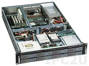 "GHI-280WV2-SATA 19"" корпус 2U EATX, отсеки 1x5.25"" Slim/1x3.5"" Slim/2x3.5"" HDD/8x3.5"" Hot Swap SATA HDD, 6 горизонтальных слотов, без источника питания"