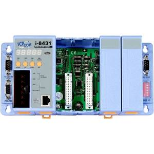 I-8431 PC-совместимый промышленный контроллер 40МГц, 512кб SRAM, 512кб Flash, 2xRS232, 1xRS232/485, Ethernet 10BaseT, 7-сегментный индикатор, 4 слота расширения, Mini OS7