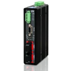 IFC-FDC-ST030 Industrial RS-232/422/485 Daisy Chain Fiber Media Converter with Optical Single-mode ST port, Distance 30km, 2.5kV Isolation, Redundant Dual 12/24/48VDC Input Power, -10.. 60C Operating Temperature