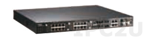 JetNet 5628G-R 1U Rackmount Industrial Managed Ethernet Modular Switch with 4x1000Base-TX/1000Base-X RJ45/SFP Combo Ports, Support up to 24x10/100Base-TX Ports or 18x100Base-FX Fiber Ports, Dual 85..264VAC/88..370VDC Power Input, LAN/Power Connectors Rear Side