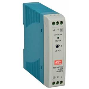 MDR-20-24-DE Industrial Power Supply, AC Input 85-264VAC, 120-370VAC, Output 24VDC/1A, DIN-Rail Mounting