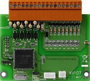 XV107 Плата дискретного ввода-вывода, 8 каналов DI источник, 8 канала DO приемник для VPD-132/133, ModBus RTU, RoHS