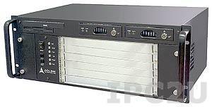"""cPCIS-6400X/32 19"""" Корпус 4U CompactPCI для плат 6U cPCI, 5 слотовая CTI пассивная объединительная плата 32 бит Rear I/O, с Slim CD-ROM, FDD, двумя съемными отсеками HDD, источник питания 280Вт ATX"""